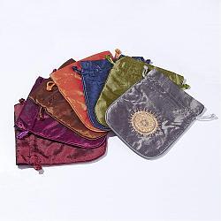 Pochette en satin, bijoux cadeau sacs, couleur mixte, 15x12.5x0.2 cm(ABAG-D006-02)