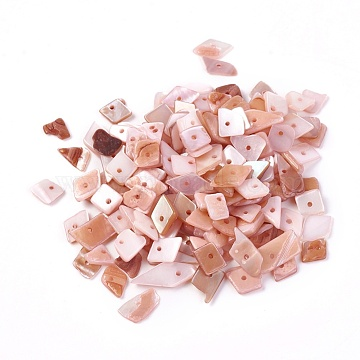 Shell Beads, Dyed, Nuggets, Pink, 6.2~15.2x4.3~7.3x0.4~3.8mm, Hole: 1mm(X-BSHE-I008-13C)
