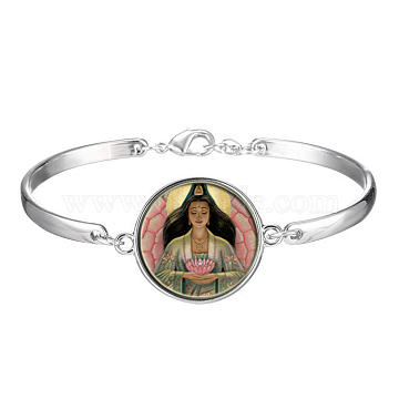 Picture Glass Links Bracelets, with Alloy Findings, Flat Round with Guan Yin Pattern, Goddess of Mercy, Colorful, 2-1/8 inches(5.5cm)(BJEW-O171-28)