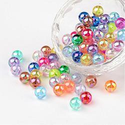 Perles en acrylique transparente, rond, couleur ab , couleur mixte, 8mm, Trou: 1.5mm(X-PL734M)