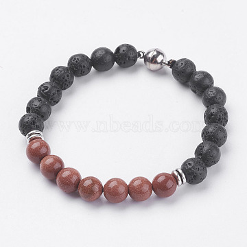 Natural Lava Rock Beads Stretch Bracelets, with Synthetic Goldstone, Magnetic Clasp and Alloy Findings, 7-5/8 inches(195mm)(BJEW-I241-13G)