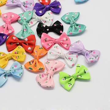 Handmade Woven Costume Accessories, Grosgrain Bowknot, Mixed Color, 23x35x6mm(X-WOVE-R055-M)