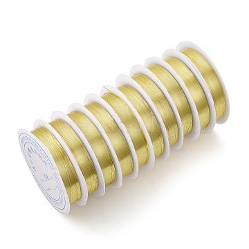 Copper Jewelry Wire, Long-Lasting Plated, Light Gold, 0.3mm, about 51.18 Feet(15.6m)/roll(CWIR-Q006-0.3mm-G)