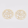 Brass Filigree Joiners Links, Etched Metal Embellishments, Long-Lasting Plated, Flat Round with Star, Light Gold, 17.5x0.3mm