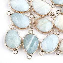 Liens naturels d'amazonite, avec les accessoires en laiton, facette, larme, or, 27.5x14.5~15x6~6.5mm, Trou: 2mm