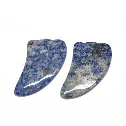 Natural Blue Spot Jasper Gua Sha Boards, Scraping Massage Tools, Gua Sha Facial Tools, Wing, 97~99.5x49~52.5x6~6.5mm(G-O175-02)