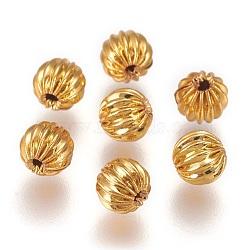 Perles ondulées en laiton, rond, Plaqué longue durée, or, 5mm, Trou: 0.8mm(X-KK-E759-5mm-01G)