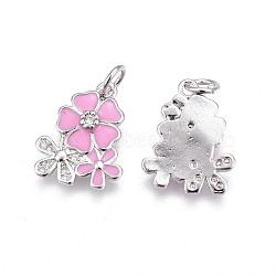 pendentifs en laiton, avec de la zircone cubique et de l'émail, fleur, platine, rose, 15.5~16x12.5x2.7~2.8 mm, trou: 3.2 mm(KK-E773-01C-P)