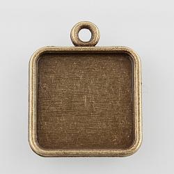 alliage carré paramètres pendentif cabochon, sans nickel, bronze antique, plateau: 15x15 mm; 22x18x2 mm, trou: 2 mm(X-PALLOY-N0088-04AB-NF)