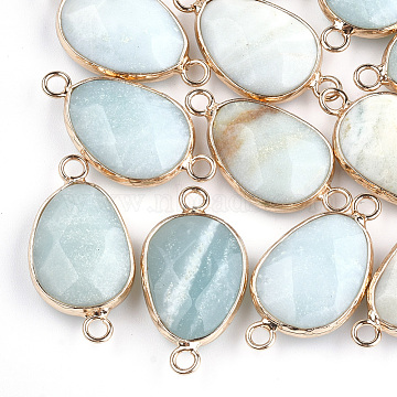 Natural Amazonite Links, with Brass Findings, Faceted, teardrop, Golden, 27.5x14.5~15x6~6.5mm, Hole: 2mm(X-G-S344-02G)