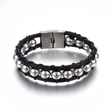 Leather Cord Bracelets, with 304 Stainless Steel Clasps, Black, Stainless Steel Color, 8-1/4inches(21cm); 15mm(BJEW-E352-12P)