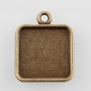Square Alloy Pendant Cabochon Settings, Cadmium Free & Nickel Free & Lead Free, Antique Bronze, Tray: 15x15mm; 22x18x2mm, Hole: 2mm(X-PALLOY-N0088-04AB-NF)