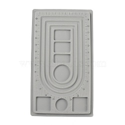 Plastic Flocking Bead Design Boards, Necklace Design Boards, Rectangle, Gray, 23x41x1cm(X-PD001)