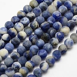 """Chapelets de perles en sodalite naturelle, mat, rond, teint, 4mm, trou: 0.8mm; environ 90 pcs/chapelet, 14.1""""(X-G-J364-01-4mm)"""
