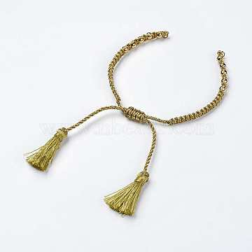 Polyester DIY Braided Bracelet Making, with Brass Findings and Tassel, Olive, 9-7/8 inches(250mm), 5mm, Hole: 2mm; Tassels: 24x5mm(X-MAK-K018-B01)