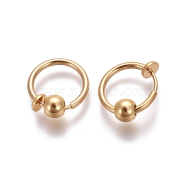 Electroplate Brass Retractable Clip-on Earrings, Non Piercing Spring Hoop Earrings, Cartilage Earring, with Removable Beads, Gold, 12.6x0.8~1.6mm, Clip Pad: 4.5mm(X-EJEW-L221-02N)