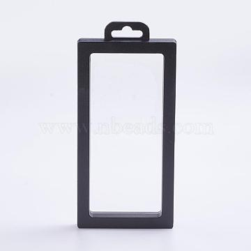 Plastic Frame Stands, with Transparent Membrane, For Ring, Pendant, Bracelet Jewelry Display, Rectangle, Black, 196x90x20mm(ODIS-P005-03-B)