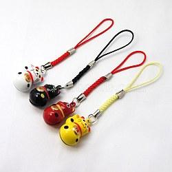 Мода медный колокольчик планки мобильного, нейлоновый шнур, кошка, разноцветные, 100 мм(MOBA-G055-M04)