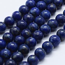 Natural Lapis Lazuli Beads Strands, Round, 8mm, Hole: 0.5mm; about 50pcs/strand; 15.35