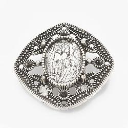 Tibetan Style Alloy Slide Charms Cabochon Settings, Lead Free, Rhombus, Antique Silver, Tray:10x14mm; 27x27x8mm, Hole: 10x2mm, 24mm side(X-TIBEB-R068-35AS-LF)