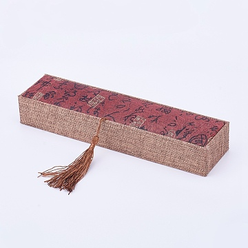 Wooden Necklace Boxes, with Linen and Nylon Cord Tassel, Rectangle, FireBrick, 24x6x3.7cm(X-OBOX-K001-03)