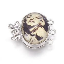 Boîte fermoirs de résine, fermoirs multi-brins, avec les accessoires en laiton de tonalité de platine, ovale avec marilyn monroe, facette, 22x27x8.5mm, Trou: 2mm(RESI-L023-E01)