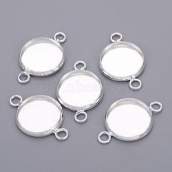 латуни кабошон параметры соединителя, чашки безель с краем, плоские круглые, серебристый цвет, лоток: 12x1.5 мм; 20x13.5 мм, отверстия: 1.5 mm(X-KK-I028-S)