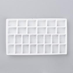 Plateaux d'affichage à bijoux en plastique, 28 compartiments, blanc, 127x75x6mm(X-ODIS-R004-02)