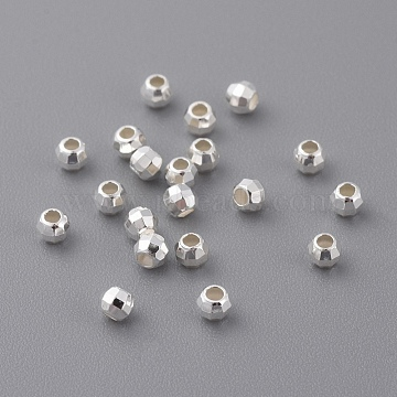 Sterling Silver Spacer Beads, Faceted, Round, Size: about 2.5mm in diameter, 2mm thick, hole: 1mm(X-STER-A010-14)