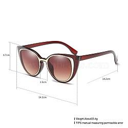 старинные очки для женщин, Пластиковые рамы и поликарбонатные линзы, saddlebrown, 14.3x4.7 cm(SG-BB22004-4)