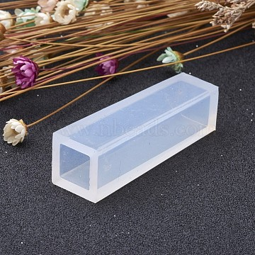Cuboid Shape DIY Silicone Molds, Resin Casting Molds, For UV Resin, Epoxy Resin Jewelry Making, Clear, 49x14x14mm; Inner Size: 9.5x9.5mm(X-AJEW-P039-04)