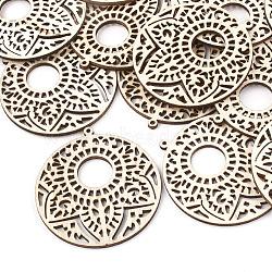 Gros pendentifs en bois non teint, pour la fabrication et l'artisanat de bijoux bricolage, plat rond, blé, 64x60x3mm, Trou: 1.8mm(X-WOOD-T008-42)