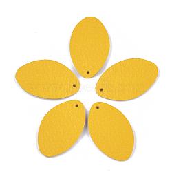 pendentifs environnementaux de peau de vache, ovale, or, 35x21x1.5 mm, trou: 1.5 mm(FIND-T045-26B-07)