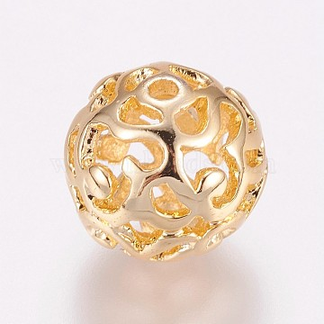 Long-Lasting Plated Brass Beads, Hollow, Round, Real 24K Gold Plated, 12mm, Hole: 1.5mm(X-KK-K181-02G)