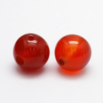 3-Hole Dyed Natural Red Agate Round Beads, T-Drilled Beads, 8mm, Hole: 1mm(G-N0012-8mm-18)