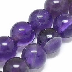 Chapelets de perles en améthyste naturelle, rond, 6.5mm, trou: 0.8mm; environ 28 pcs/chapelet, 6.8'' (17.5 cm)(X-G-G791-11-A01)