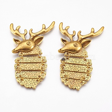 Tibetan Style Alloy Cabochons, Christmas Reindeer/Stag, Cadmium Free & Nickel Free & Lead Free, Antique Golden, 72x44x5mm(X-TIBEP-S193-AG-NR)
