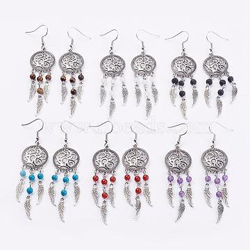 Natural & Synthetic Gemstone Chandelier Earrings, with Brass Earring Hooks, Alloy Findings, Tibetan Style Alloy Wing, Packing Box, 82mm, Pin: 0.6mm, 1pair/box, 6boxes/set(EJEW-JE02425)