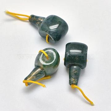 Natural Moss Agate 3 Hole Guru Beads, T-Drilled Beads, 21~24x10.5~12x11.5~12.5mm, Hole: 1.8mm; 2mm(G-K208-02-A-26)
