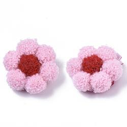 petites filles accessoires pour cheveux, pinces à cheveux alligator fer et ruban, avec fleur de laine, rose, 54x48x27 mm(PHAR-R177-02D)