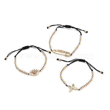 Adjustable Nylon Thread Braided Bead Bracelets Sets, with Round Brass Beads and Brass Micro Pave Cubic Zirconia Links, Butterfly & Eye & Safety Pin Shape, Mixed Color, Inner Diameter: 1-1/2~2-7/8 inches(3.7~7.2cm); 3pcs/set(BJEW-JB05635)