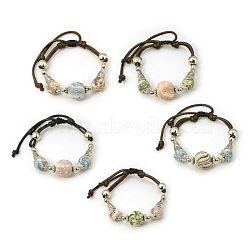 Bracelets en perles de lava, cordon de coton ciré avec accessoires en alliage, Style, couleur mixte, 49mm(BJEW-D258-M)