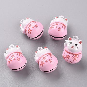 Baking Painted Brass Bell Pendants, Maneki Neko/Beckoning Cat, Pink, 26.5x17x16mm, Hole: 2mm(KKB-S002-010A)
