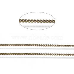laiton torsadé chaînes, gourmettes, coupe de diamant, non soudée, ovale, sans plomb libre et nickel et cadmium libre, bronze antique, 1.5x1x0.35 mm; sur 2 m / rouleau(X-CHC-S109-AB-NF)