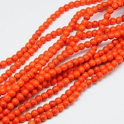 "1 brin teints OrangeRed ronde synthétiques perles turquoise brins, 4mm, trou: 1mm; environ 110 pcs/chapelet, 15.6""(X-TURQ-G106-4mm-02G)"