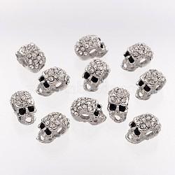 Perles de strass en alliage, Halloween, crane, couleur platine, 13x7.5x9mm, Trou: 3mm(X-ALRI-Q382-1)
