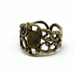 Brass Filigree Ring Components, Adjustable, Antique Bronze, 18mm, Tray: 8.5x6.6mm(KK-H235-AB1)