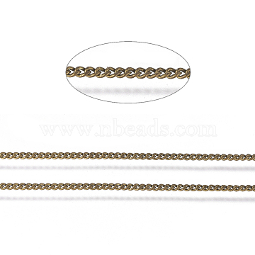 Brass Twisted Chains, Curb Chains, Diamond Cut, Unwelded, Oval, Lead Free & Nickel Free & Cadmium Free, Antique Bronze, 1.5x1x0.35mm, about 6.56 Feet(2m)/roll(X-CHC-S109-AB-NF)