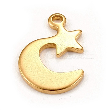 304 Stainless Steel Pendants, Laser Cut, Moon with Star, Golden, 22x17x1.5mm, Hole: 2mm(STAS-L250-001G)