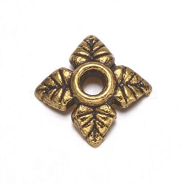 Tibetan Silver Bead Caps, Lead Free & Cadmium Free, Antique Golden, about 6mm long, 6mm wide, 2mm high, Hole: 2mm(X-GAA0551)